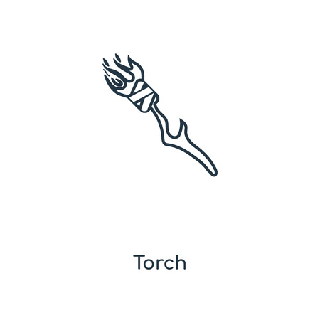 Torch concept line icon. Linear Torch concept outline symbol design. This simple element illustration can be used for web and mobile UI/UX.