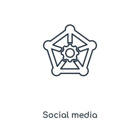 Social media concept line icon. Linear Social media concept outline symbol design. This simple element illustration can be used for web and mobile UIUX.