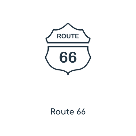 Route 66 concept line icon. Linear Route 66 concept outline symbol design. This simple element illustration can be used for web and mobile UI/UX. 向量圖像