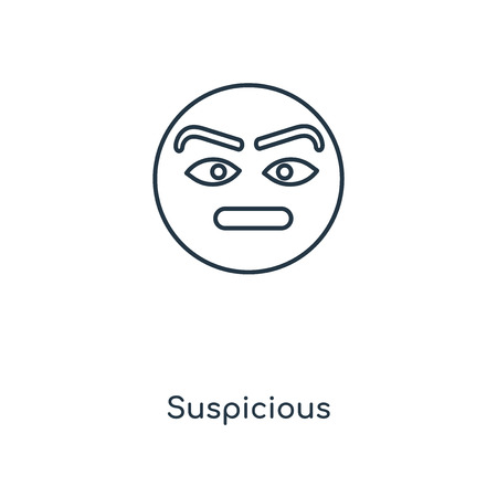 Suspicious concept line icon. Linear Suspicious concept outline symbol design. This simple element illustration can be used for web and mobile UI/UX.