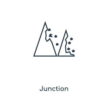 Junction concept line icon. Linear Junction concept outline symbol design. This simple element illustration can be used for web and mobile UI/UX.