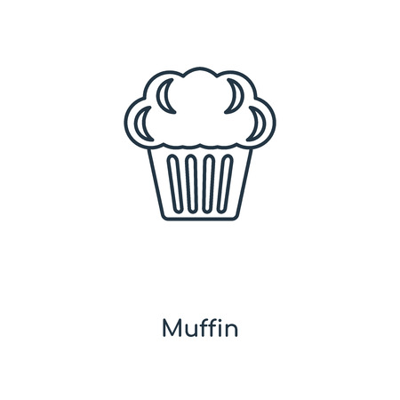 Muffin concept line icon. Linear Muffin concept outline symbol design. This simple element illustration can be used for web and mobile UIUX.