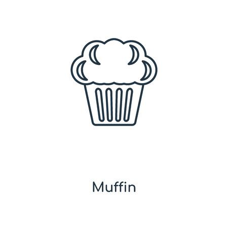 Muffin-Konzept Symbol Leitung. Lineares Muffin-Konzept umreißt das Symboldesign. Diese einfache Elementillustration kann für Web- und mobile UI/UX verwendet werden.