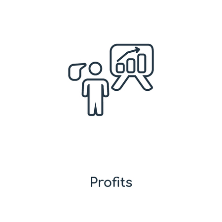 Profits concept line icon. Linear Profits concept outline symbol design. This simple element illustration can be used for web and mobile UI/UX.