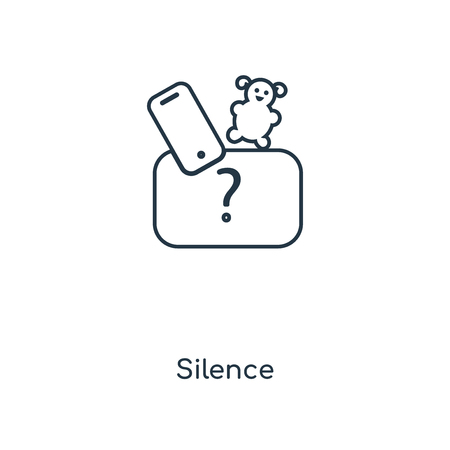 Silence concept line icon. Linear Silence concept outline symbol design. This simple element illustration can be used for web and mobile UI/UX. 向量圖像