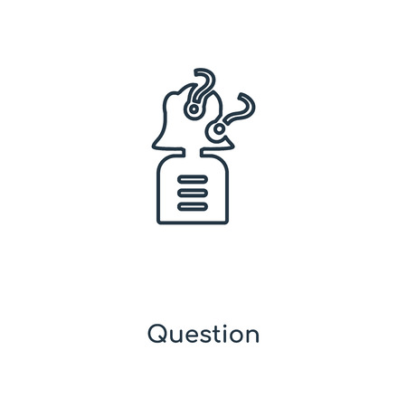 Question concept line icon. Linear Question concept outline symbol design. This simple element illustration can be used for web and mobile UI/UX. Ilustração