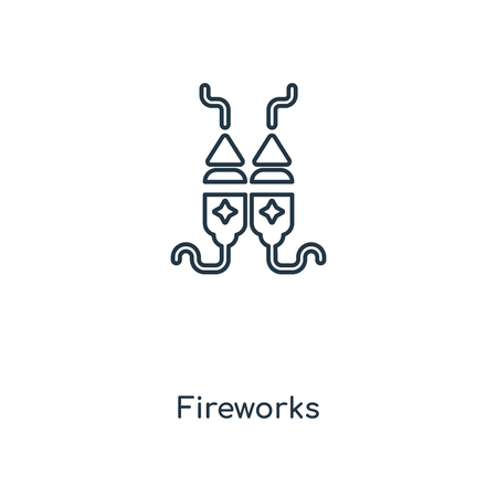 Fireworks concept line icon. Linear Fireworks concept outline symbol design. This simple element illustration can be used for web and mobile UI/UX.