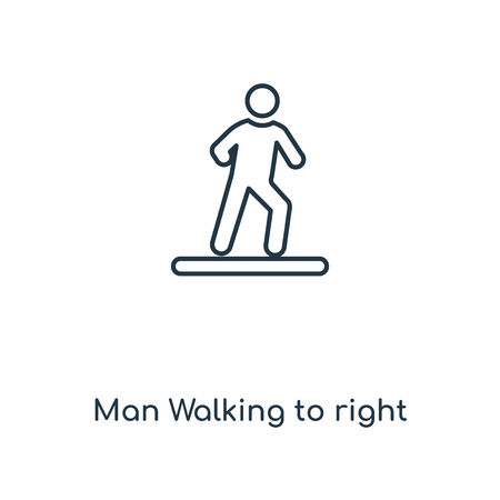 Man Walking to right concept line icon. Linear Man Walking to right concept outline symbol design. This simple element illustration can be used for web and mobile UI/UX.