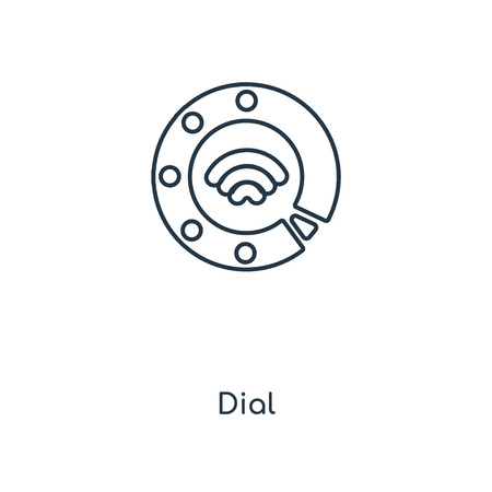 Dial concept line icon. Linear Dial concept outline symbol design. This simple element illustration can be used for web and mobile UI/UX.