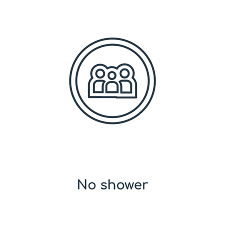 No shower concept line icon. Linear No shower concept outline symbol design. This simple element illustration can be used for web and mobile UI/UX.