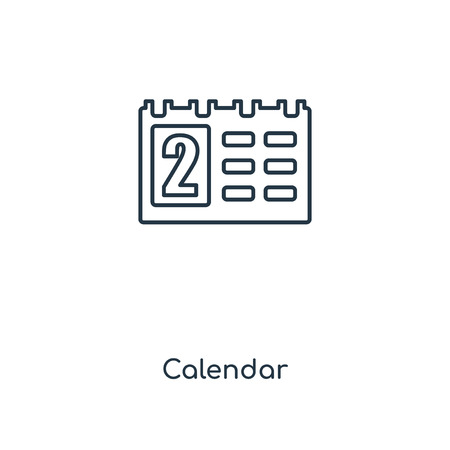 Calendar concept line icon. Linear Calendar concept outline symbol design. This simple element illustration can be used for web and mobile UI/UX. Stock Vector - 113549876