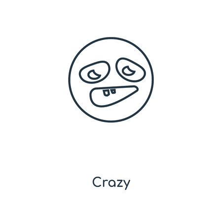 Crazy concept line icon. Linear Crazy concept outline symbol design. This simple element illustration can be used for web and mobile UI/UX. 向量圖像
