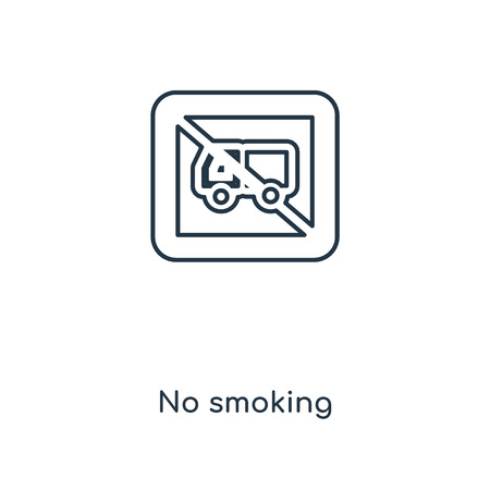 No smoking concept line icon. Linear No smoking concept outline symbol design. This simple element illustration can be used for web and mobile UIUX. Ilustração