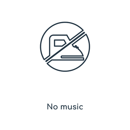 No music concept line icon. Linear No music concept outline symbol design. This simple element illustration can be used for web and mobile UIUX.  イラスト・ベクター素材