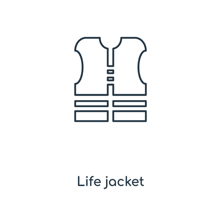 Life jacket concept line icon. Linear Life jacket concept outline symbol design. This simple element illustration can be used for web and mobile UIUX.