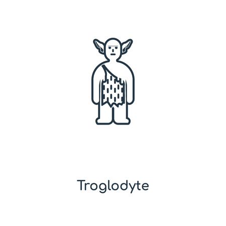 Troglodyte concept line icon. Linear Troglodyte concept outline symbol design. This simple element illustration can be used for web and mobile UIUX.