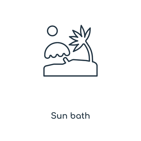 Sun bath concept line icon. Linear Sun bath concept outline symbol design. This simple element illustration can be used for web and mobile UI/UX.  イラスト・ベクター素材