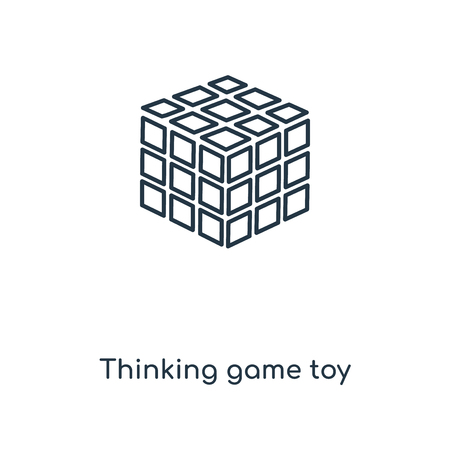 Thinking game toy concept line icon. Linear Thinking game toy concept outline symbol design. This simple element illustration can be used for web and mobile UI/UX.