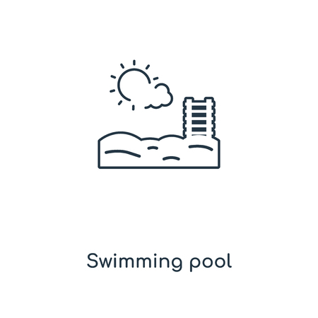Swimming pool concept line icon. Linear Swimming pool concept outline symbol design. This simple element illustration can be used for web and mobile UI/UX.