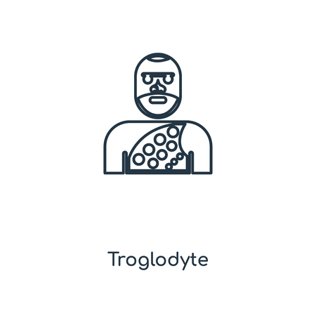 Troglodyte concept line icon. Linear Troglodyte concept outline symbol design. This simple element illustration can be used for web and mobile UI/UX.