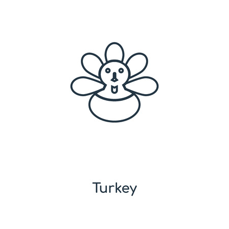 Turkey concept line icon. Linear Turkey concept outline symbol design. This simple element illustration can be used for web and mobile UI/UX. 矢量图像