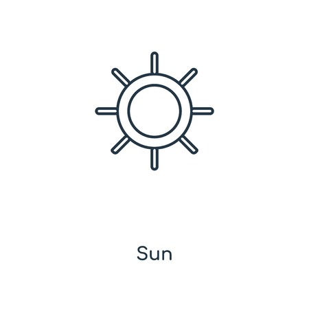 Sun concept line icon. Linear Sun concept outline symbol design. This simple element illustration can be used for web and mobile UIUX.  イラスト・ベクター素材