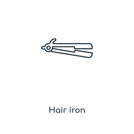 Hair iron concept line icon. Linear Hair iron concept outline symbol design. This simple element illustration can be used for web and mobile UI/UX. Stock Vector - 113550337