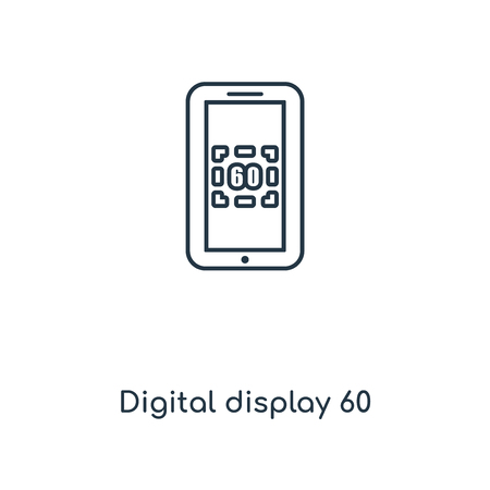 Digital display 60 concept line icon. Linear Digital display 60 concept outline symbol design. This simple element illustration can be used for web and mobile UI/UX. 矢量图像