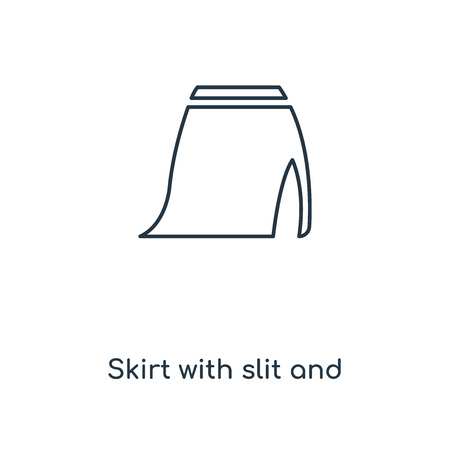 Skirt with slit and belt concept line icon. Linear Skirt with slit and belt concept outline symbol design. This simple element illustration can be used for web and mobile UIUX. Çizim