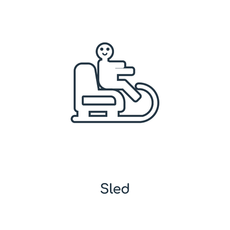 Sled concept line icon. Linear Sled concept outline symbol design. This simple element illustration can be used for web and mobile UIUX.