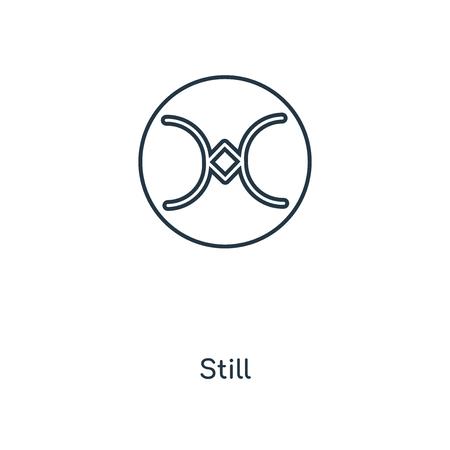 L'icône de la ligne de concept encore. Conception de symbole de contour de concept linéaire Still. Cette illustration d'élément simple peut être utilisée pour l'interface utilisateur/UX Web et mobile. Vecteurs