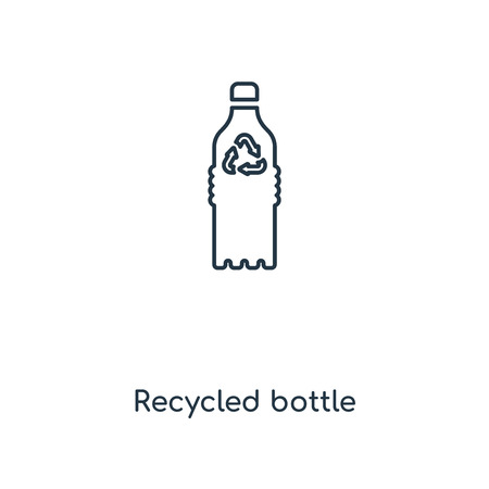 Recycled bottle concept line icon. Linear Recycled bottle concept outline symbol design. This simple element illustration can be used for web and mobile UI/UX.