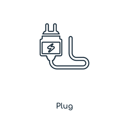 Plug concept line icon. Linear Plug concept outline symbol design. This simple element illustration can be used for web and mobile UI/UX. 向量圖像