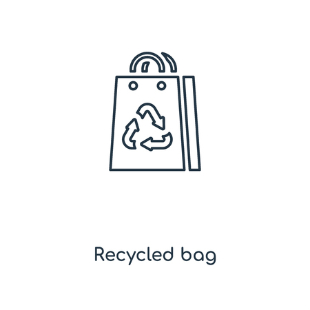 Recycled bag concept line icon. Linear Recycled bag concept outline symbol design. This simple element illustration can be used for web and mobile UI/UX.