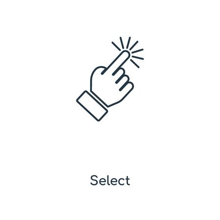 Wybierz ikonę linii koncepcyjnej. Liniowy Wybierz projekt symbolu konspektu koncepcji. Ta prosta ilustracja elementu może być używana do internetowego i mobilnego interfejsu użytkownika/UX. Ilustracje wektorowe