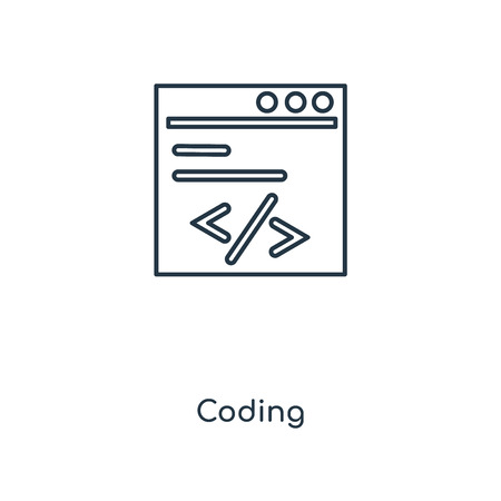 Coding concept line icon. Linear Coding concept outline symbol design. This simple element illustration can be used for web and mobile UI/UX.