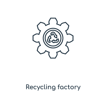 Recycling factory concept line icon. Linear Recycling factory concept outline symbol design. This simple element illustration can be used for web and mobile UIUX. Ilustração