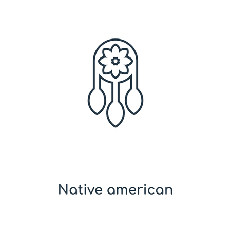 Native american concept line icon. Linear Native american concept outline symbol design. This simple element illustration can be used for web and mobile UI/UX. Vettoriali