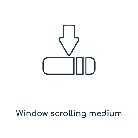 Window scrolling medium concept line icon. Linear Window scrolling medium concept outline symbol design. This simple element illustration can be used for web and mobile UI/UX.