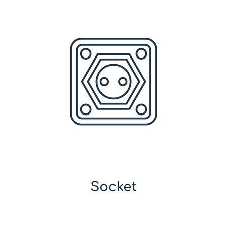 Socket concept line icon. Linear Socket concept outline symbol design. This simple element illustration can be used for web and mobile UI/UX. Illustration