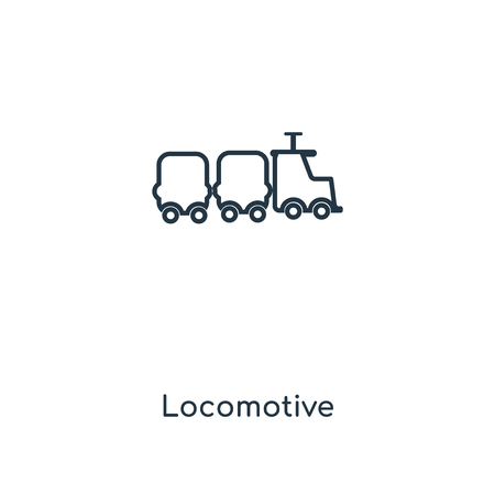 Locomotive concept line icon. Linear Locomotive concept outline symbol design. This simple element illustration can be used for web and mobile UIUX.