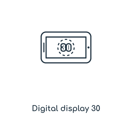 Digital display 30 concept line icon. Linear Digital display 30 concept outline symbol design. This simple element illustration can be used for web and mobile UIUX.  イラスト・ベクター素材