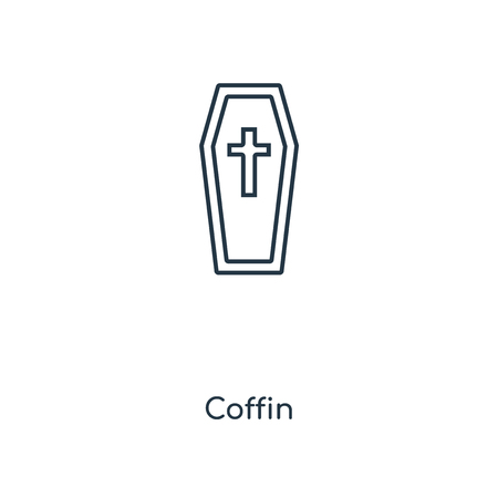 Coffin concept line icon. Linear Coffin concept outline symbol design. This simple element illustration can be used for web and mobile UI/UX. 矢量图像