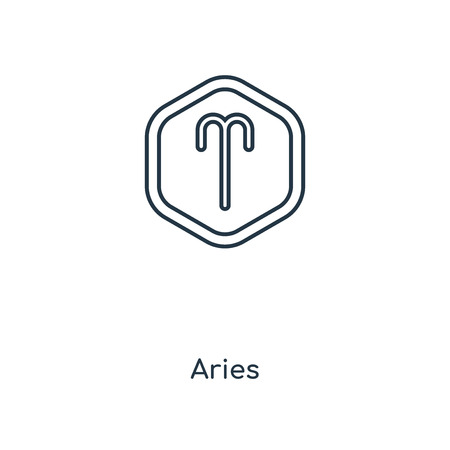 Aries concept line icon. Linear Aries concept outline symbol design. This simple element illustration can be used for web and mobile UI/UX. Stock Illustratie