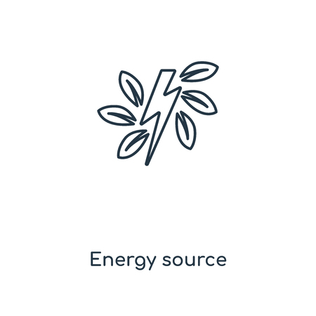 Green energy source concept line icon. Linear Green energy source concept outline symbol design. This simple element illustration can be used for web and mobile UI/UX.
