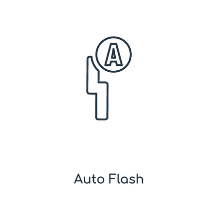 Auto Flash concept line icon. Linear Auto Flash concept outline symbol design. This simple element illustration can be used for web and mobile UI/UX. 向量圖像