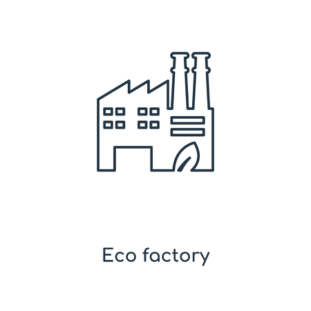 Eco factory concept line icon. Linear Eco factory concept outline symbol design. This simple element illustration can be used for web and mobile UIUX.