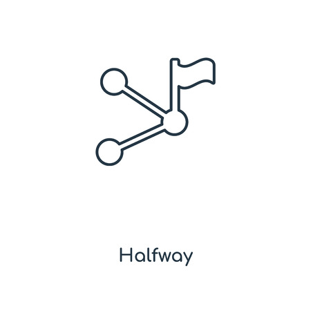 Halfway concept line icon. Linear Halfway concept outline symbol design. This simple element illustration can be used for web and mobile UI/UX.