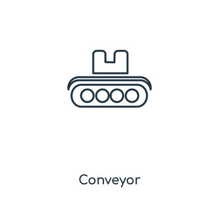 Conveyor concept line icon. Linear Conveyor concept outline symbol design. This simple element illustration can be used for web and mobile UI/UX.
