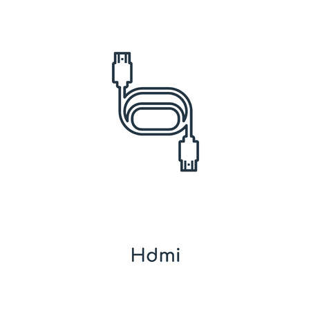 Hdmi concept line icon. Linear Hdmi concept outline symbol design. This simple element illustration can be used for web and mobile UI/UX.